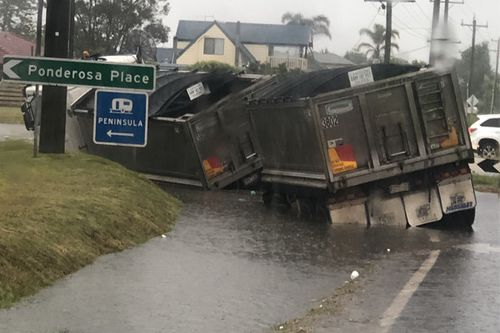 Truck in flood water in Victoria's Mornington Peninsula.
