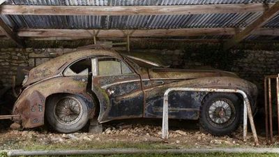 A rusted Talbot Lago T26 Grand Sport coupe Saoutchik from the Baillon collection. (AP)