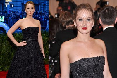 Oscar winner Jennifer Lawrence isn't affraid to keep a straight face at the Met Gala in NYC.