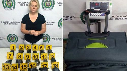 Cassandra Sainsbury with the drugs she's alleged to have attempted to traffick.
