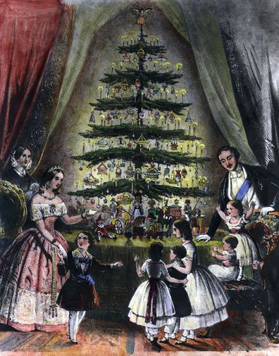 Queen Victoria and Prince Albert around the Christmas tree