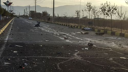 This photo released by the semi-official Fars News Agency shows the scene where Mohsen Fakhrizadeh was killed in Absard, a small city just east of the capital, Tehran, Iran, Friday, Nov. 27, 2020