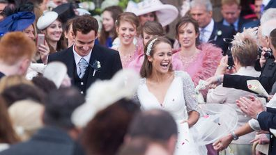 Andy Murray and his wife Kim Sears leave the cathedral in Dunblane near Stirling, Britain. (AAP)