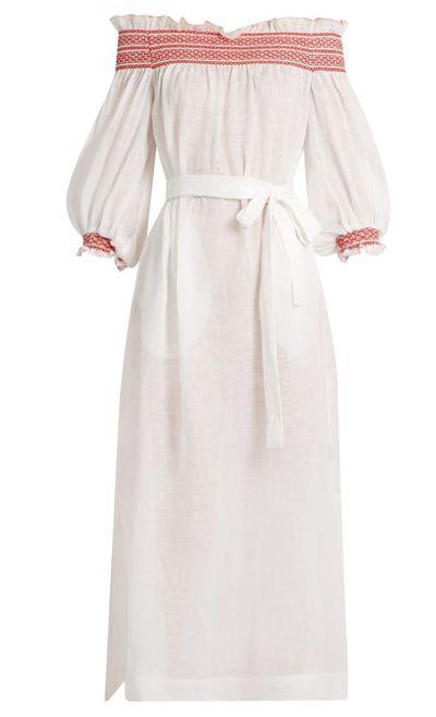 "<a href=""http://www.matchesfashion.com/au/products/Lisa-Marie-Fernandez-Off-the-shoulder-linen-dress--1080036"" target=""_blank"" draggable=""false"">Lisa Marie Fernandez Off-The-Shoulder Linen Dress, $890.</a>"