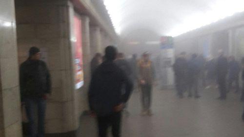 Thick smoke fills the Sennaya Square metro station. (Twitter)