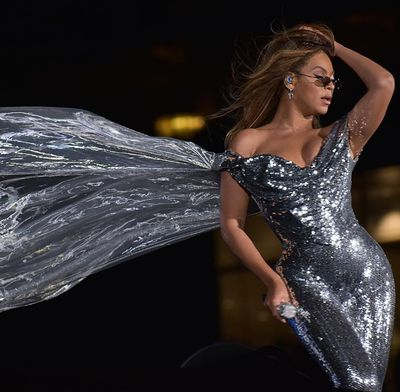 Queen Bey sparkled in the custom catsuit.