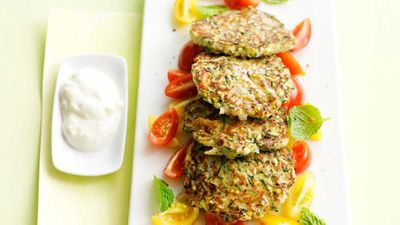 "Recipe: <a href=""http://kitchen.nine.com.au/2016/05/16/14/48/zucchini-fritters-with-tomato-mint-salad"" target=""_top"">Zucchini fritters with tomato mint salad</a>"