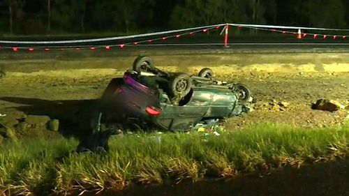 The car was found flipped on its roof half a kilometre away. (9NEWS)
