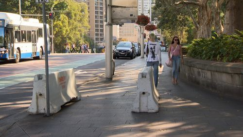 Concrete barriers have been placed throughout the Sydney CBD to keep people safe. (9NEWS)