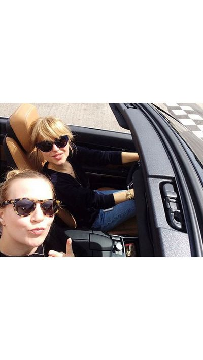 <p>Pernille Teisbaek and pal hit the open road.</p>