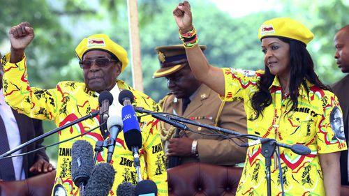 Robert and Grace Mugabe. (AAP)
