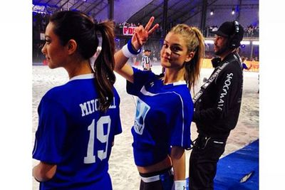 ...so decided to play alongside Victoria's Secret angel Nina Agdal in the 2014 DirecTV Beach Bowl match...<br/>