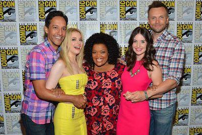 The cast of TV's <i>Community</i>: Danny Pudi, Gillian Jacobs, Yvette Nicole Brown, Allison Brie and Joel McHale.
