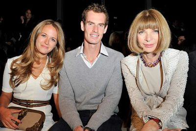 Kim Sears, tennis player Andy Murray and Anna Wintour, editor-in-chief of <i>Vogue</i>.