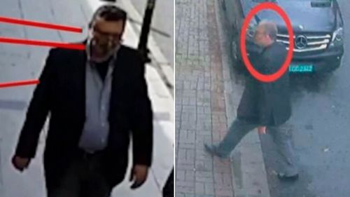 A body double of Khashoggi dressed in Khashoggi's clothes is seen on CCTV leaving by the back door.