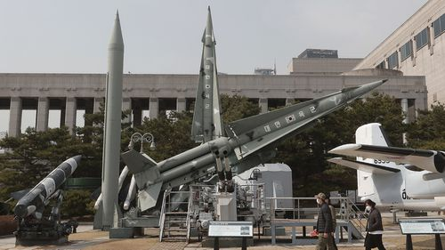 A mock North Korean Scud-B missile, second from left, displayed at the Korea War Memorial Museum in Seoul.