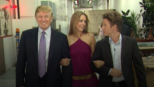"""Trump and Billy Bush with Arianne Zucker, who Trump said he may """"start kissing"""" without waiting for permission. (Washington Post)"""