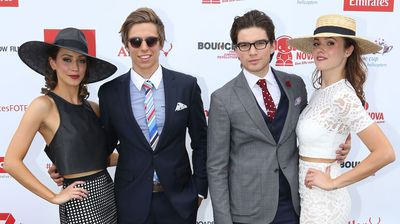 Home & Away stars and Emirates Stakes Day Fashions on the Field judges Bella Giovinazzo, Matt Little, Jackson Gallagher and Demi Harman. (Getty)