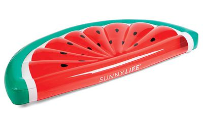 """<strong>Sunnylife luxe lie-on float - watermelon</strong>, RRP $79.95, <a href=""""https://www.sunnylife.com.au/collections/pool-floats-inflatables/products/luxe-lie-on-fl-watermelon-ss17"""" target=""""_top"""">sunnylife.com.au</a> &nbsp;"""