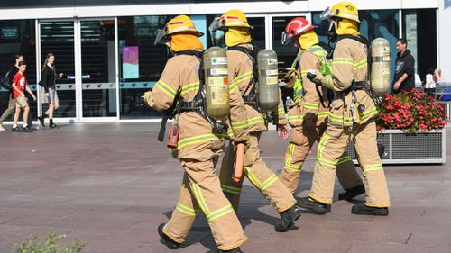 Fire and Rescue officers were called in to inspect the bank while staff members were treated on the scene and people nearby were told to avoid the area. Picture: AAP.