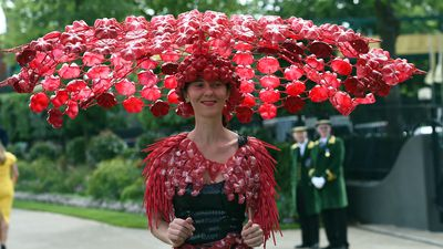 <p>Larisa Katz in a striking hat made from recycled materials on day three of the Royal Ascot. (AAP)</p>