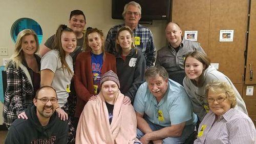 Jordyn Walker and her family celebrating Christmas in hospital.