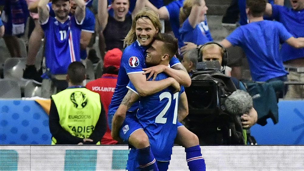Two Iceland players during their remarkable run at Euro 16. (AFP)