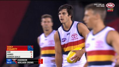 Adelaide Crows' youngster Darcy Fogarty scores with his first kick in AFL