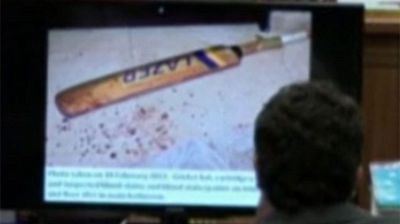 Oscar Pistorius' cricket bat at the crime scene.