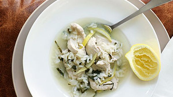 Portuguese Chicken Soup with Rice, Mint and Lemon