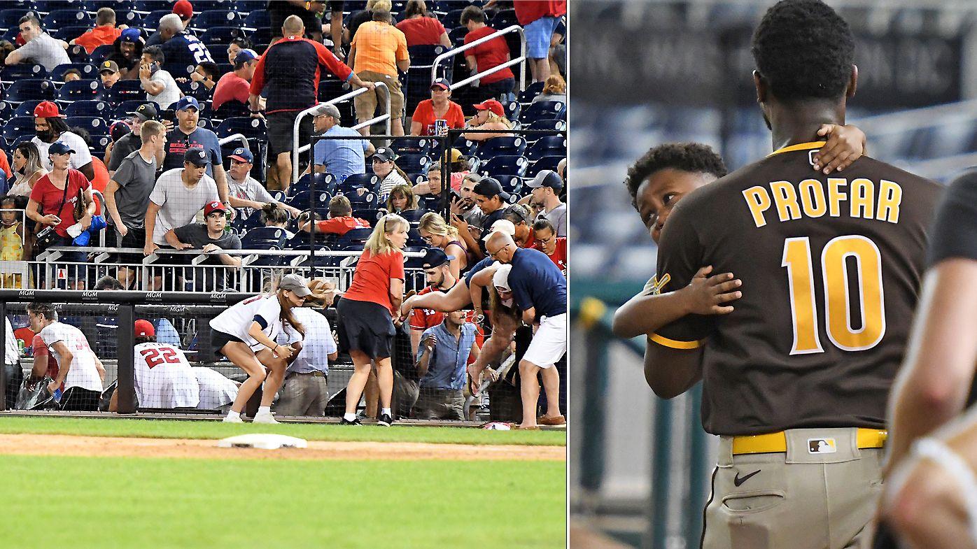 Shots are heard at the Padres v Nationals MLB game