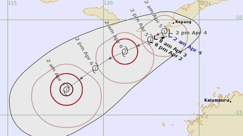 A image showing the projected path of the cyclone.