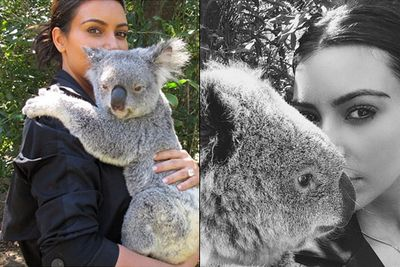 Kim Kardashian isn't above getting down and dirty with the true Aussie locals. The Queen of reality TV and all-around hottie couldn't resist sharing a few selfies with the wildlife at Steve Irwin's Australia Zoo in Brisbane. <br/><br/>Anyone for a selfie book Down Under edition?<br/><br/>