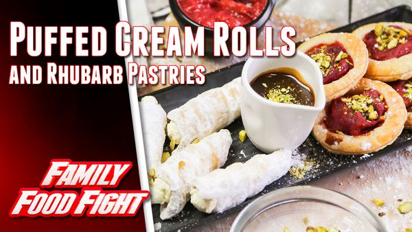 Alatini and Samadi Puffed Cream Rolls and Rhubarb Pastries