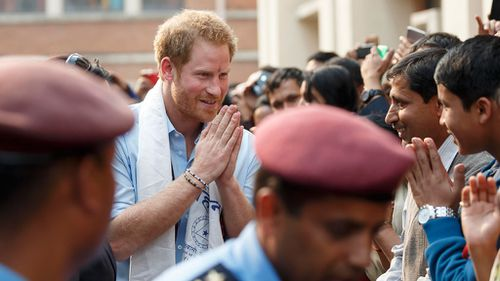 Prince Harry was greeted by crowds during his tour of  Nepal. (Getty Images/ Adam Gerrard)