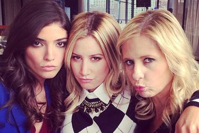 What else are three working gals supposed to do on their lunch breaks but bust out their best duckface impressions? Ashley Tisdale shared this snap with her Instagram followers while filming scenes with Sarah MG and Amanda Setton for their new show <i>The Crazy Ones</i>.<br/><br/><i>Image: Instagram @ashleytis</i>