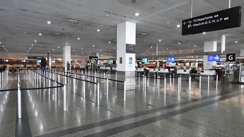 General view of empty baggage check-in lines inside in International terminal at Tullamarine Airport, Melbourne.
