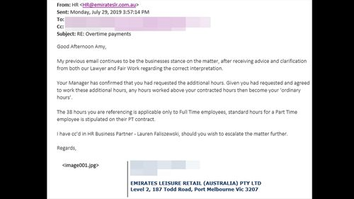 An email sent to Ms Hildebrandt from the Emirates Leisure Retail HR team, in which the company insists she is not entitled to overtime.
