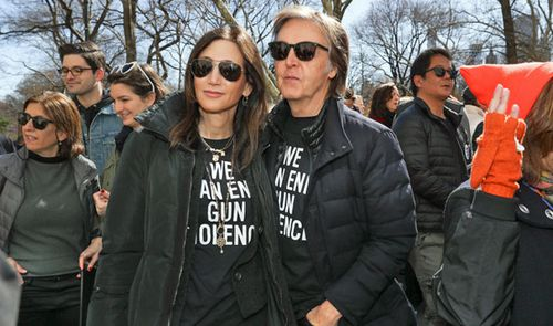 Paul McCartney and Nancy Shevell at March For Our Lives in New York. (AP).