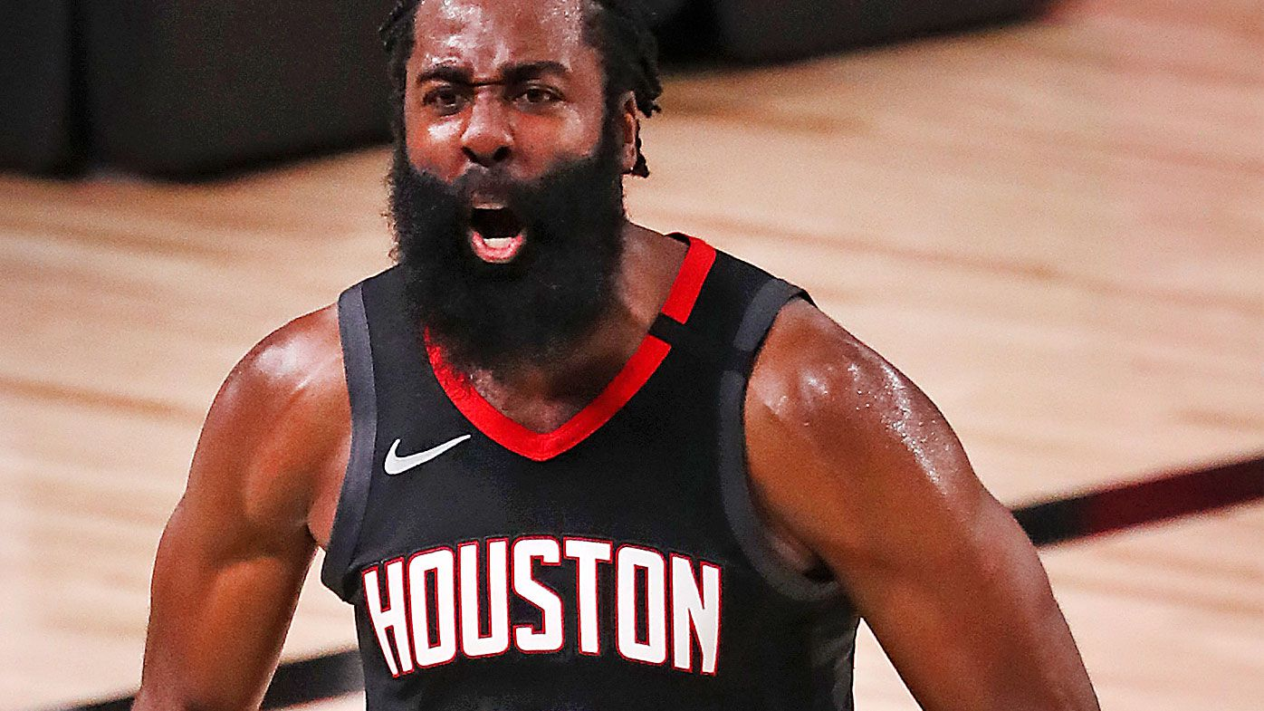 James Harden #13 of the Houston Rockets reacts during the fourth quarter