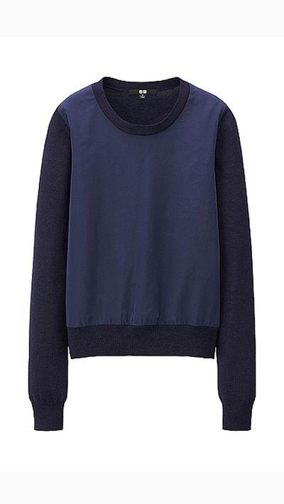 "<a _tmplitem=""8"" href=""http://www.uniqlo.com/au/store/women-merino-blend-combination-sweater-1314000011.html#colorSelect""> Merino Blend Combination Sweater, $49.90, Uniqlo</a>"