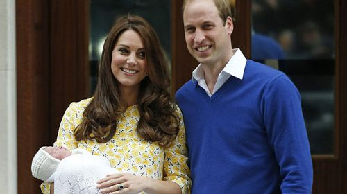 The Duchess of Cambridge presents her new daughter to the world. (AAP)