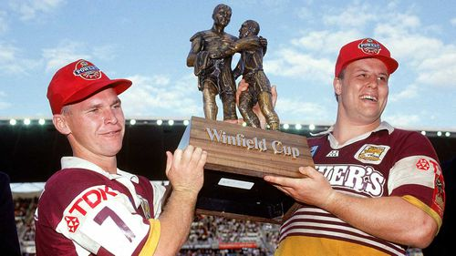 Allan Langer and Glenn Lazarus of the Broncos holds aloft the premiership trophy after winning the 1992 NSWRL Grand Final.