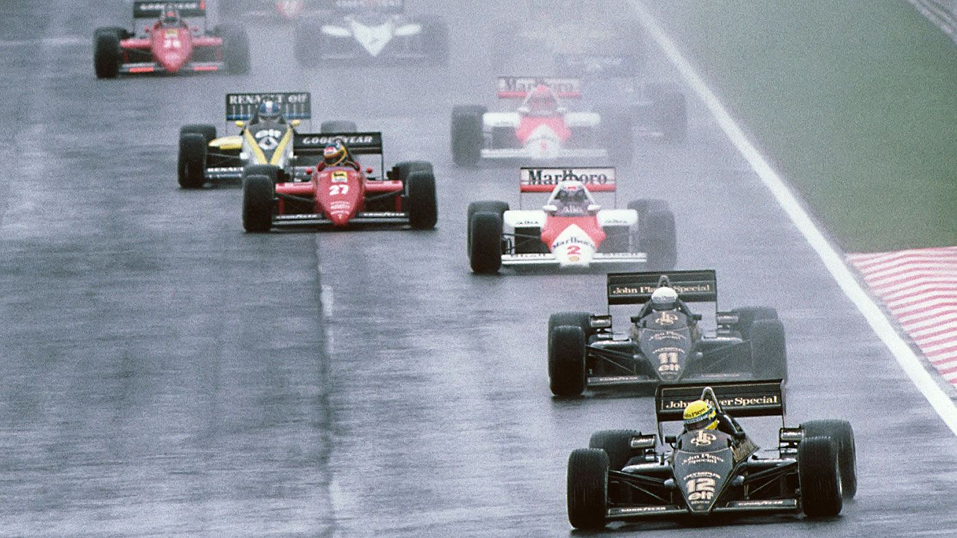 Ayrton Senna leads Elio de Angelis and Alain Prost into the first corner of the 1985 Grand Prix of Portugal.