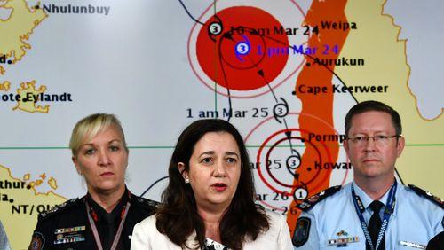 Premier Annastacia Palaszczuk provides an update on Tropical Cyclone Nora. (AAP)