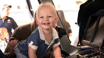 William Gamble explores the Life Flight helicopter. Picture: 9NEWS