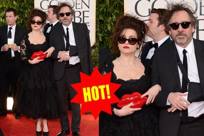 These oddballs have made crazy red-carpet dressing an art. Luckily they're on form today with crazy hair and an amazing, lip-smacking clutch.