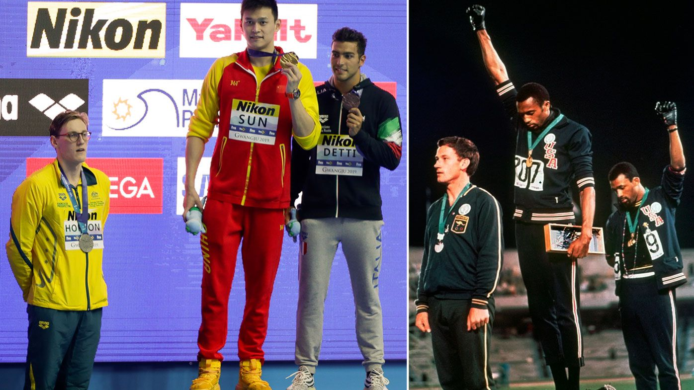 Mack Horton compared to iconic Peter Norman stand after silent protest against Sun Yang