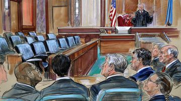 This courtroom sketch depicts U.S. District court Judge T.S. Ellis III speaking to the lawyers and defendant Paul Manafort.