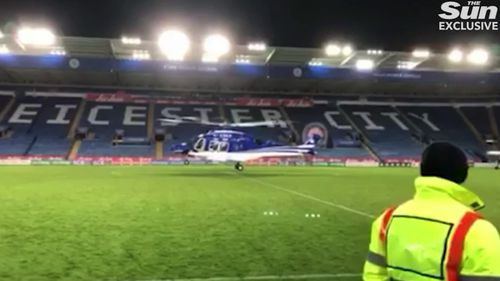 New vision from inside Leicester City Football Club's home stadium has shown a helicopter containing the club's owner spinning before it crashed.